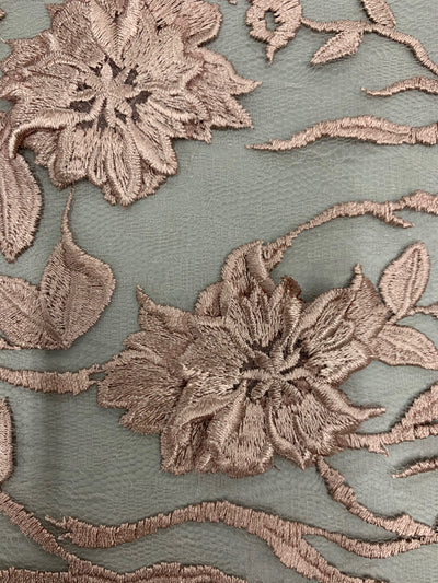 Nina DARK MAUVE Polyester 3-D Floral Embroidery on Mesh Lace Fabric