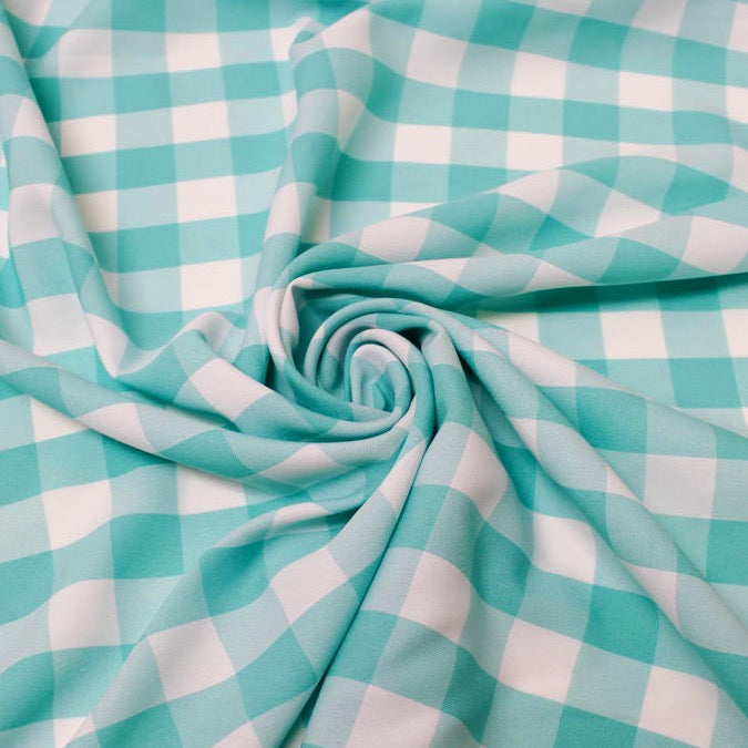 "Camille AQUA 1"" Big Checkered Gingham Pattern Poly Poplin Fabric by the Yard"