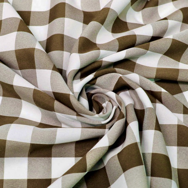 "Camille BROWN 1"" Big Checkered Gingham Pattern Poly Poplin Fabric by the Yard"