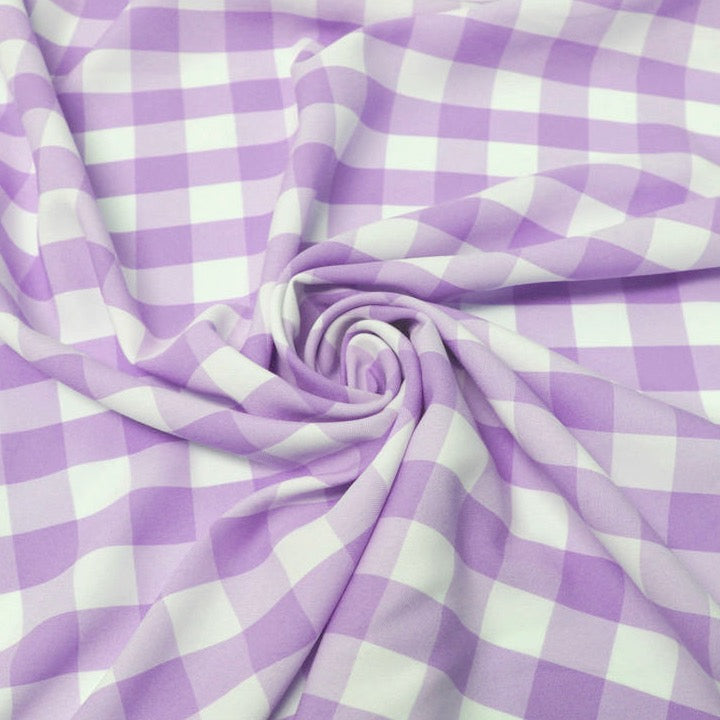 "Camille LAVENDER 1"" Big Checkered Gingham Pattern Poly Poplin Fabric by the Yard"