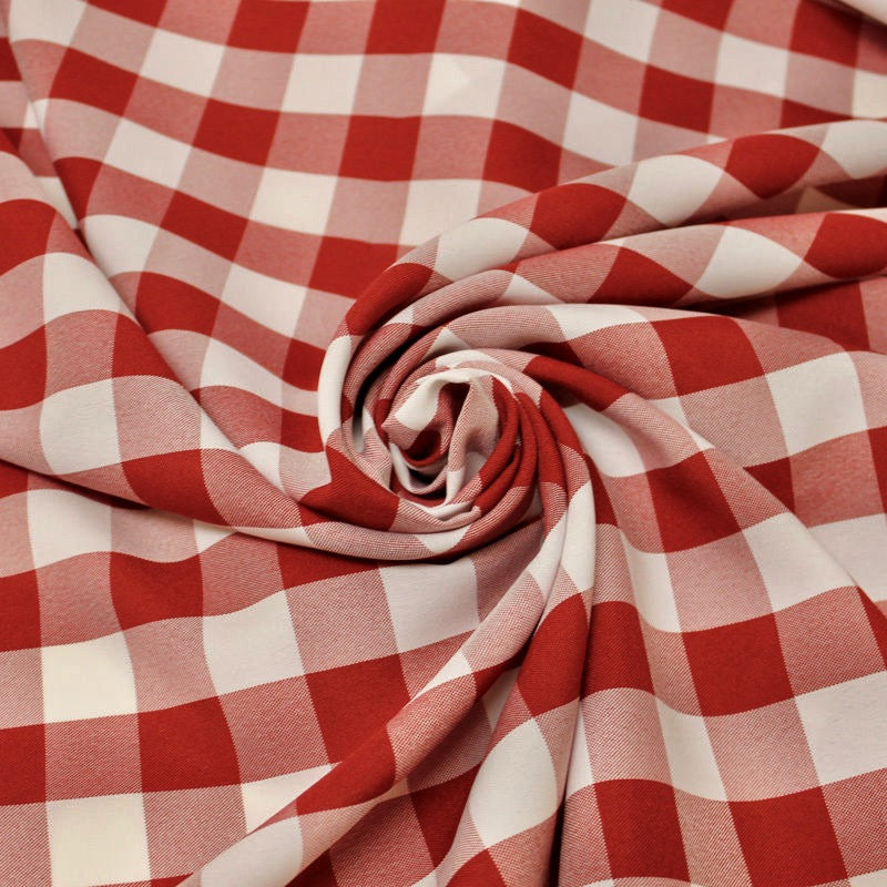 "Camille RED 1"" Big Checkered Gingham Pattern Poly Poplin Fabric by the Yard"