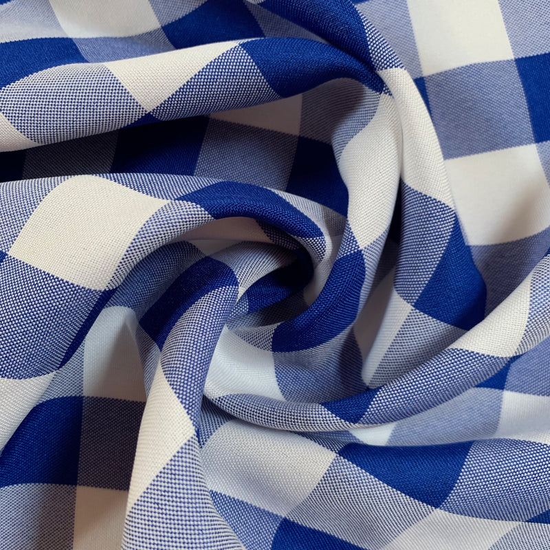 "Camille ROYAL BLUE 1"" Big Checkered Gingham Pattern Poly Poplin Fabric by the Yard"