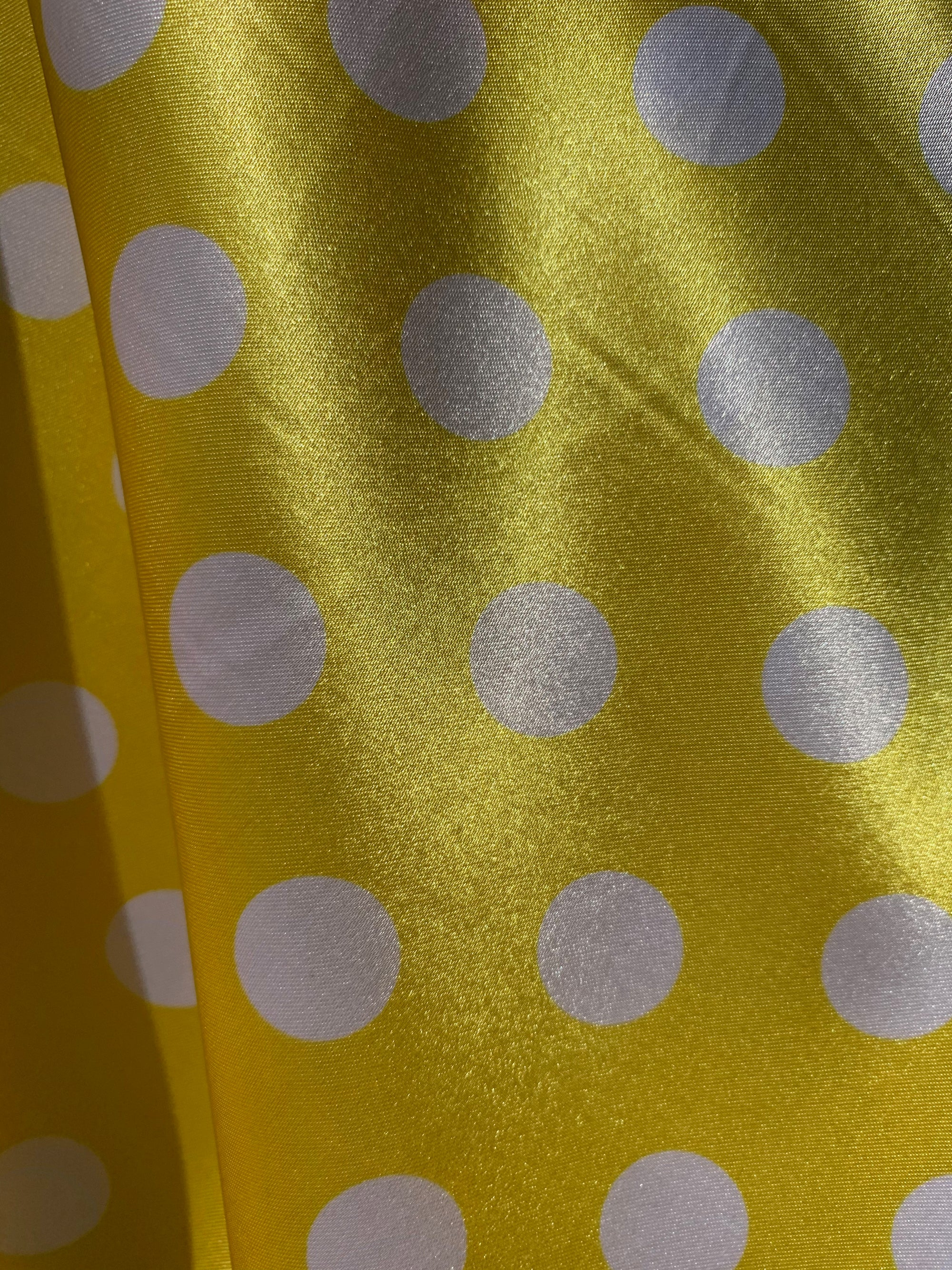 "Shelby 0.75"" WHITE Polka Dots on YELLOW Polyester Light Weight Satin Fabric"