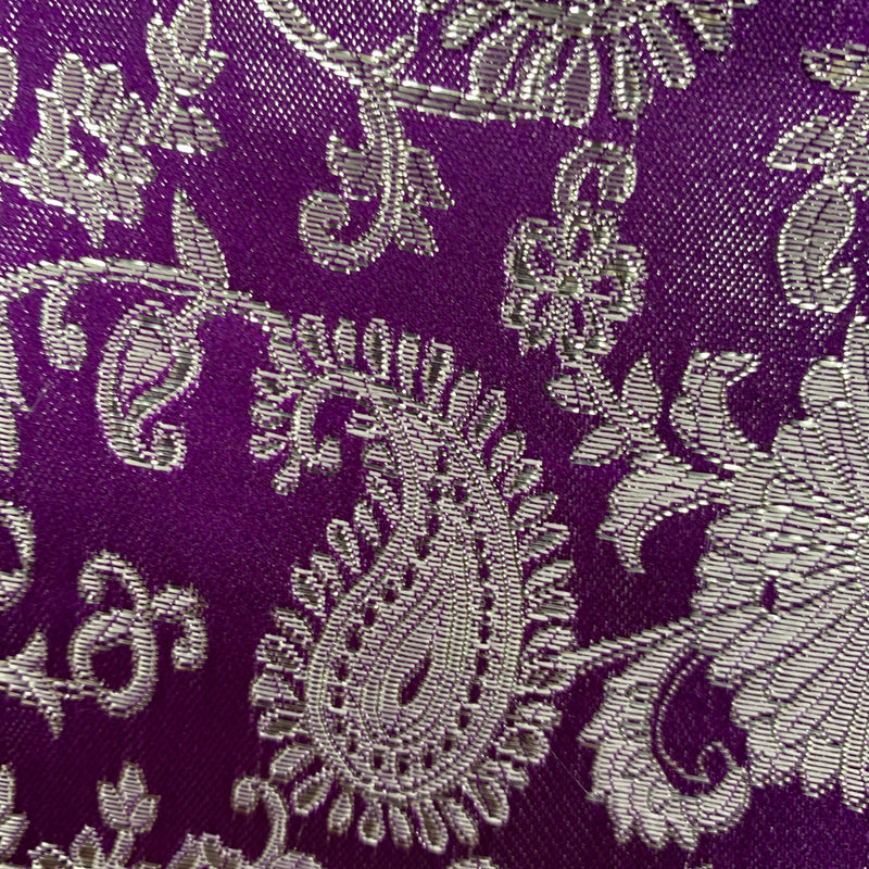 Holly PLUM Paisley Floral Brocade Chinese Satin Fabric by the Yard
