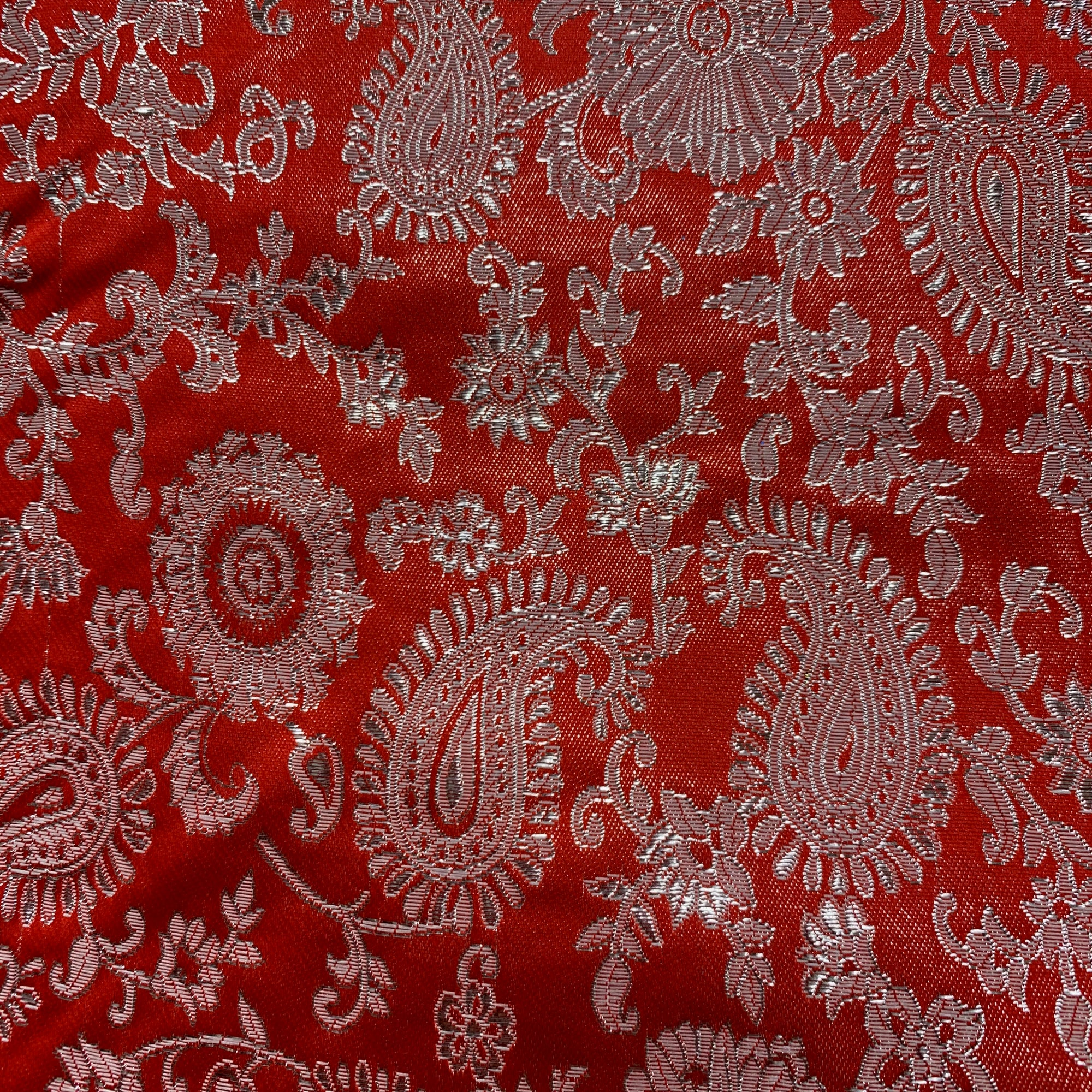 Holly RED Paisley Floral Brocade Chinese Satin Fabric by the Yard