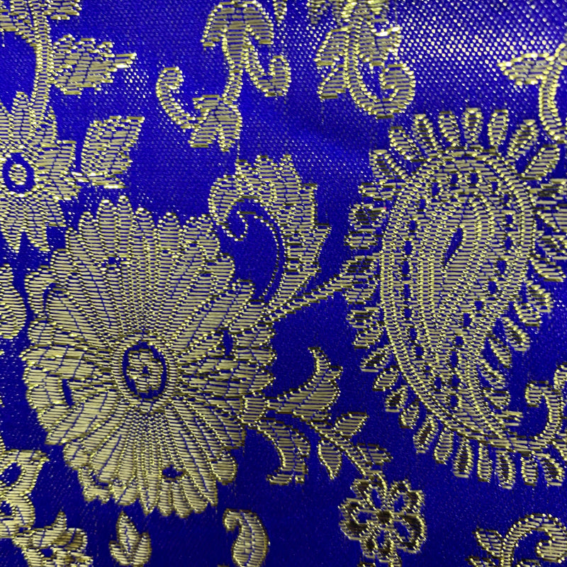 Holly ROYAL BLUE Paisley Floral Brocade Chinese Satin Fabric by the Yard
