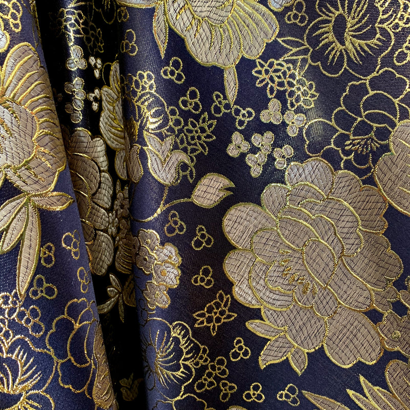 Juliet BLACK Floral Brocade Chinese Satin Fabric by the Yard