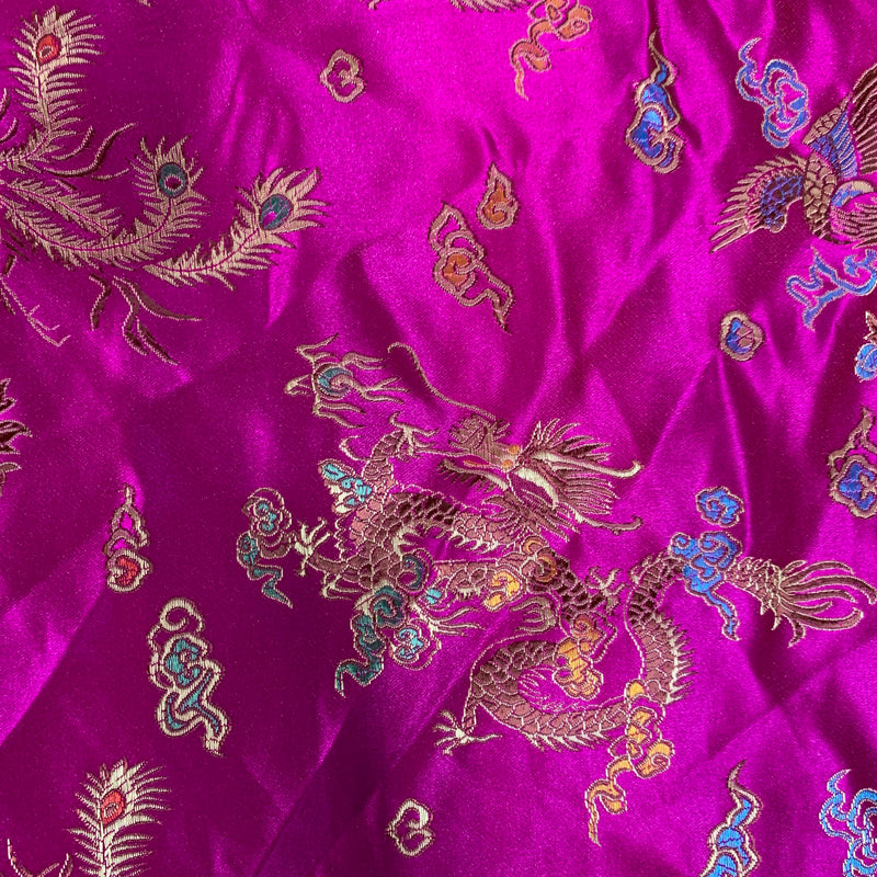 Hope FUCHSIA Dragon Brocade Chinese Satin Fabric by the Yard