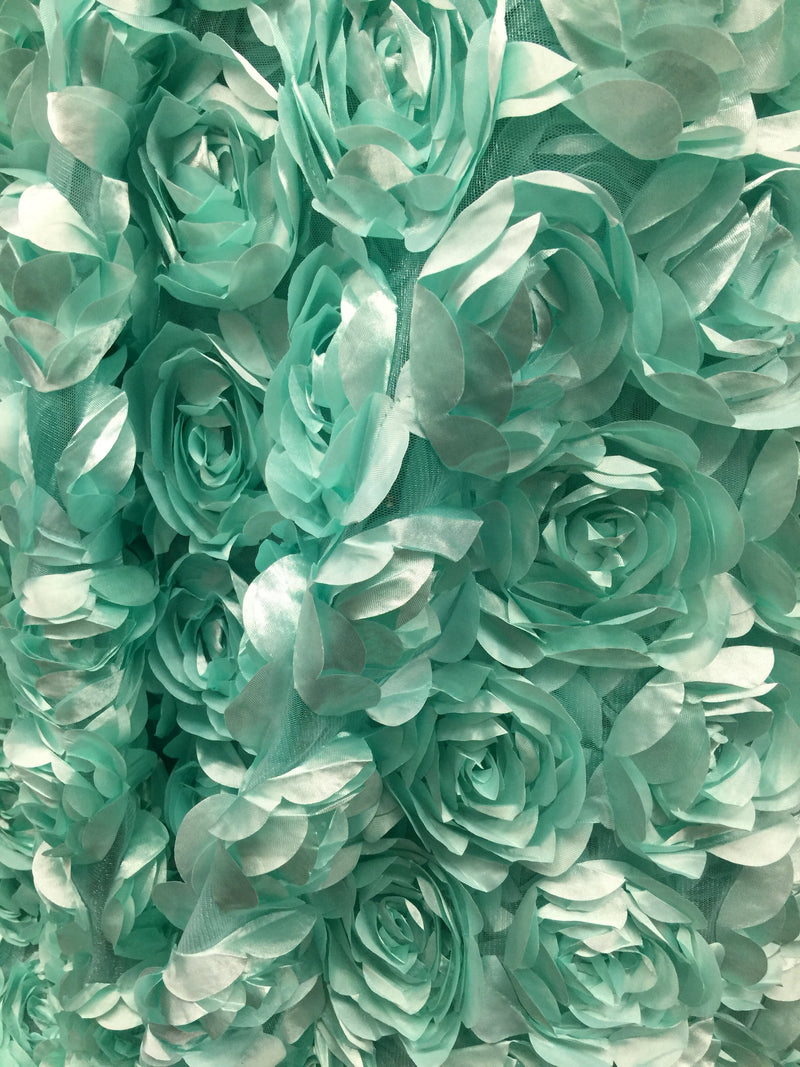 Maci MINT GREEN 3D Floral Polyester Satin Rosette on Mesh Fabric by the Yard
