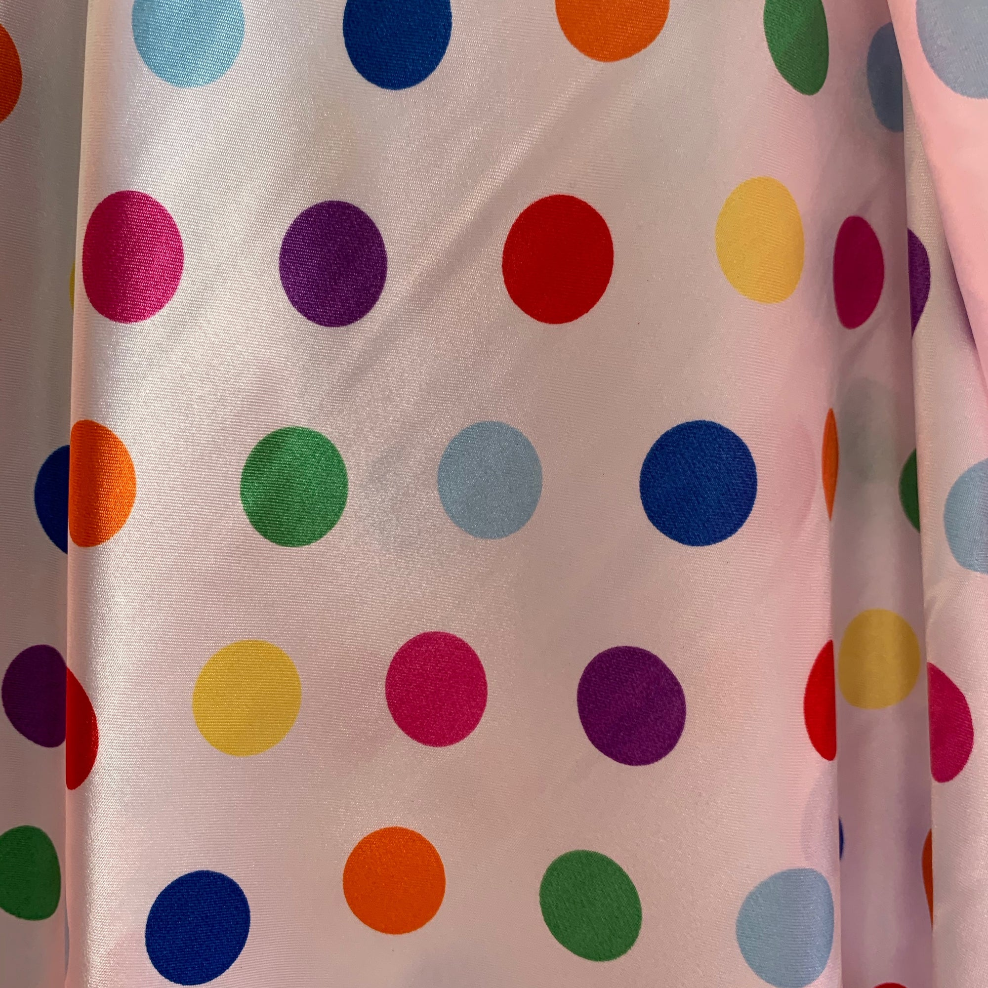 "Shelby 0.75"" MULTI COLOR Polka Dots on WHITE Polyester Light Weight Satin Fabric"