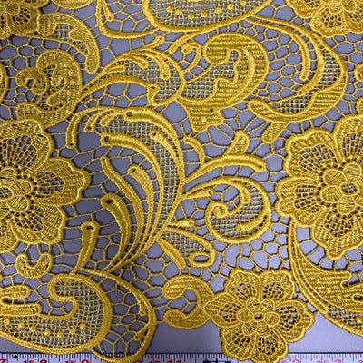 Maggie MUSTARD YELLOW Guipure Venice Heavy Lace Fabric by the Yard