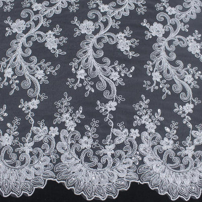 Melody WHITE Polyester Floral Embroidery with Sequins on Mesh Lace Fabric by the Yard for Gown, Wedding, Bridesmaid, Prom - 10002