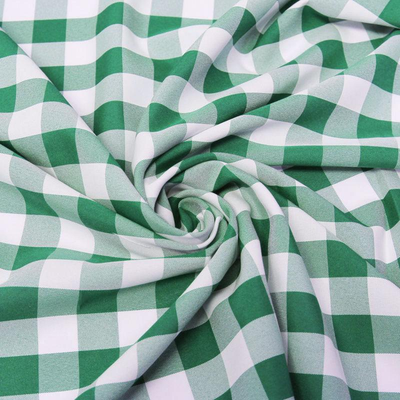 "Camille HUNTER GREEN 1"" Big Checkered Gingham Pattern Poly Poplin Fabric by the Yard - 10049"