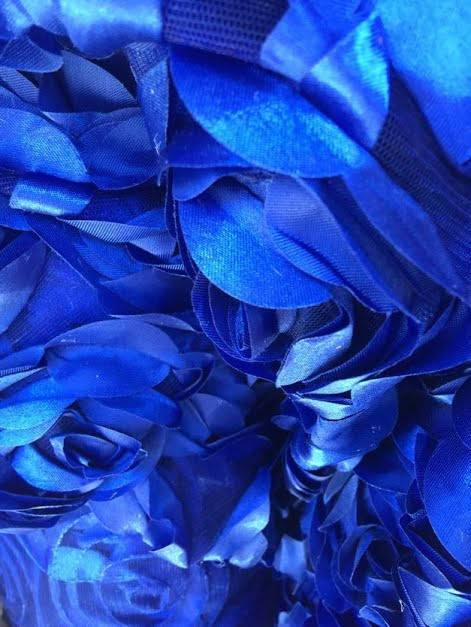 Maci ROYAL BLUE 3D Floral Polyester Satin Rosette on Mesh Fabric by the Yard - 10057