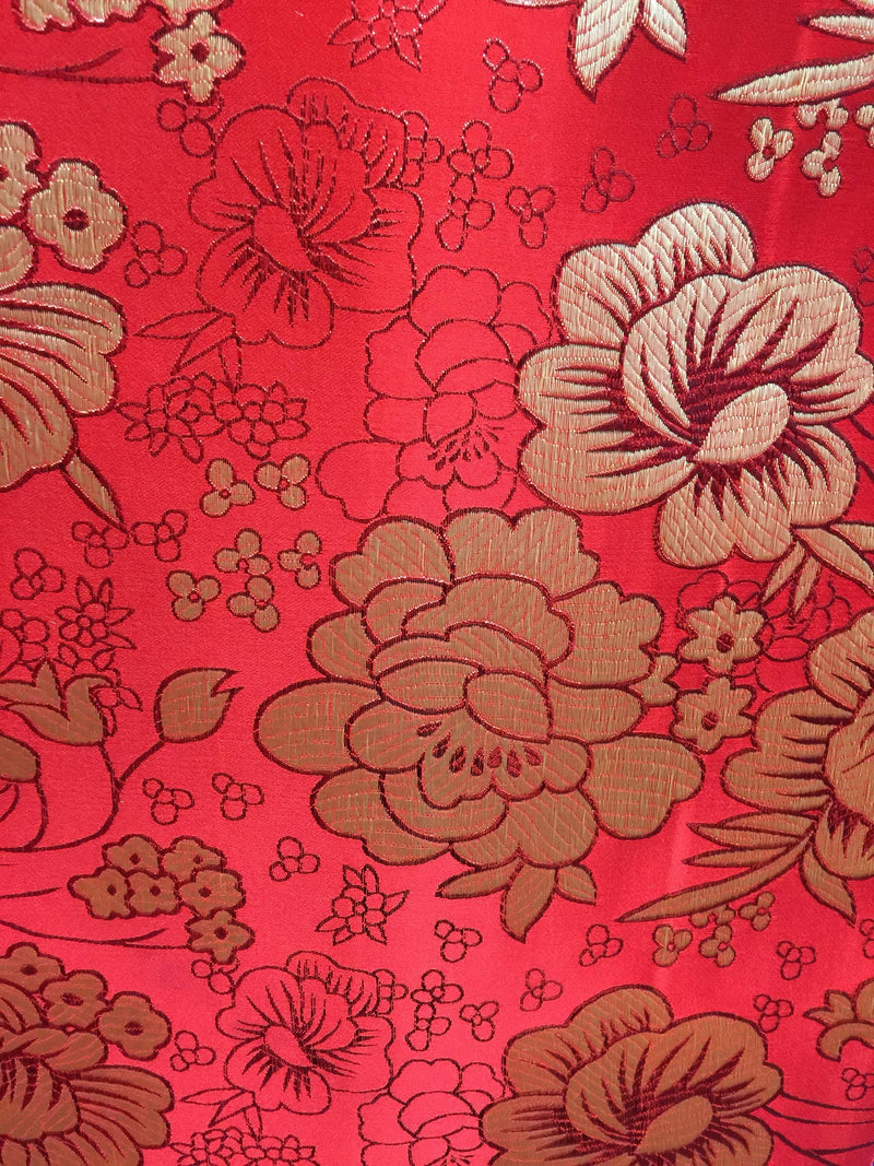 Juliet RED Floral Brocade Chinese Satin Fabric by the Yard - 10053