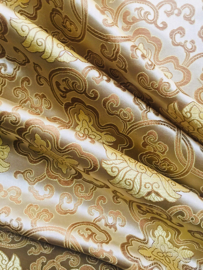 Adelaide GOLD Chinese Brocade Satin Fabric