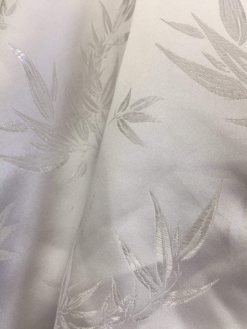Alondra WHITE Leaves Brocade Chinese Satin Fabric by the Yard - 10095