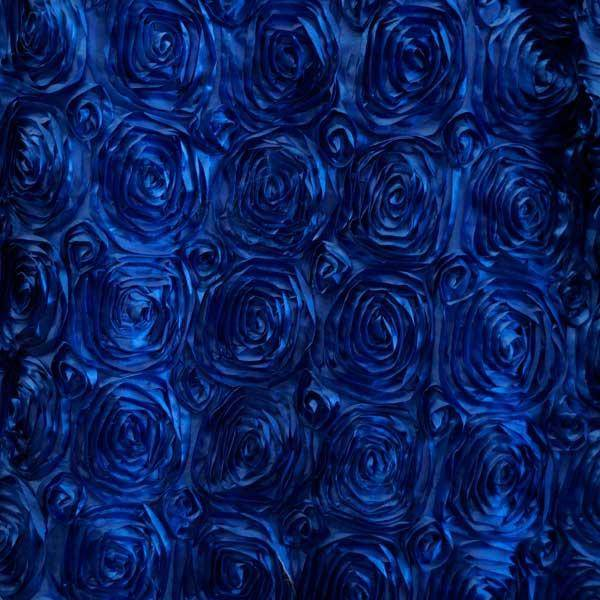 Paige ROYAL BLUE 3D Floral Polyester Satin Rosette Fabric by the Yard - 10028