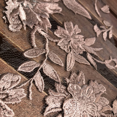 Nina DARK MAUVE Polyester 3-D Floral Embroidery on Mesh Lace Fabric by the Yard - 10032