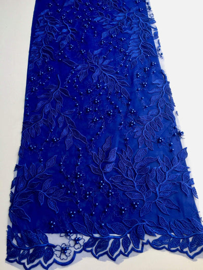 Veronica ROYAL BLUE Faux Pearls Beaded Flowers and Leaves Lace Embroidery on Mesh Fabric by the Yard - 10100