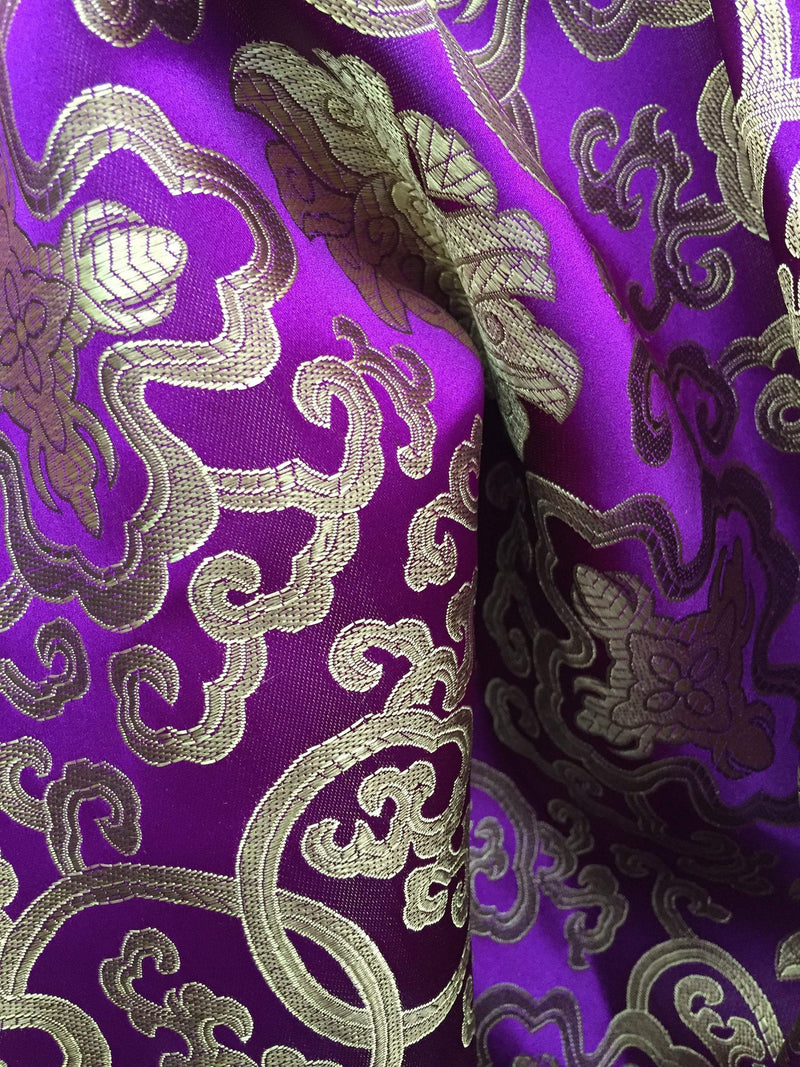 Adelaide PURPLE GOLD Chinese Brocade Satin Fabric by the Yard - 10058