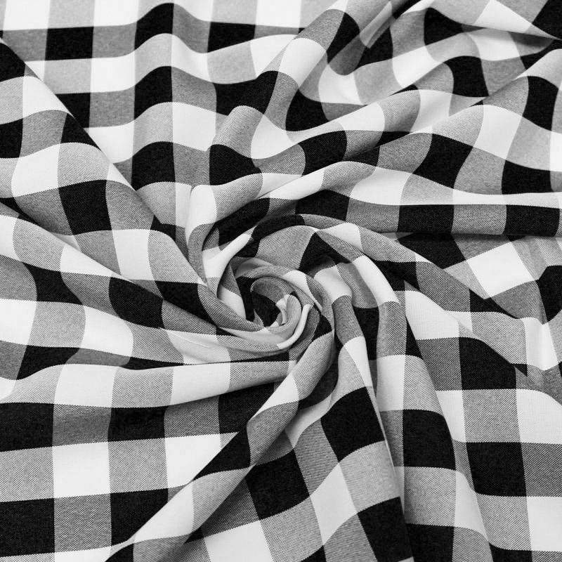 "Camille BLACK 1"" Big Checkered Gingham Pattern Poly Poplin Fabric by the Yard - 10049"