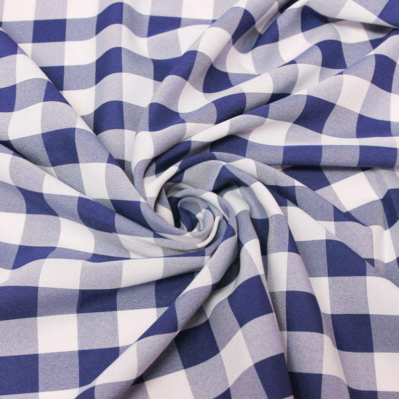 "Camille NAVY 1"" Big Checkered Gingham Pattern Poly Poplin Fabric by the Yard - 10049"