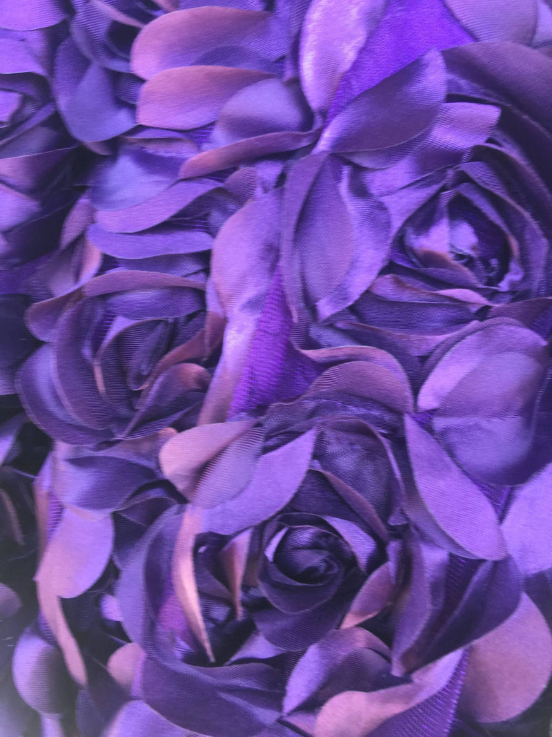 Maci VIOLET 3D Floral Polyester Satin Rosette on Mesh Fabric by the Yard - 10057