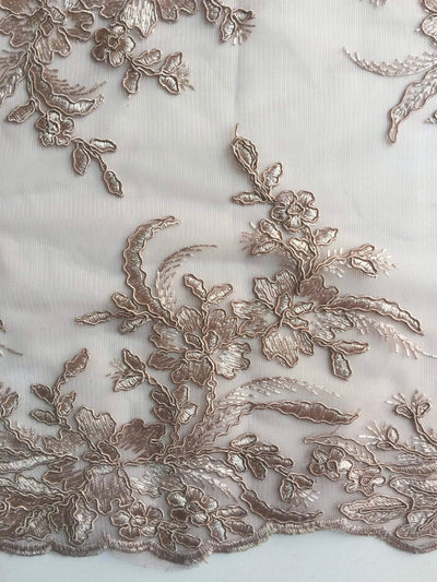 Callie LIGHT TAUPE Polyester Floral Corsage Embroidery on Mesh Lace Fabric by the Yard - 10025
