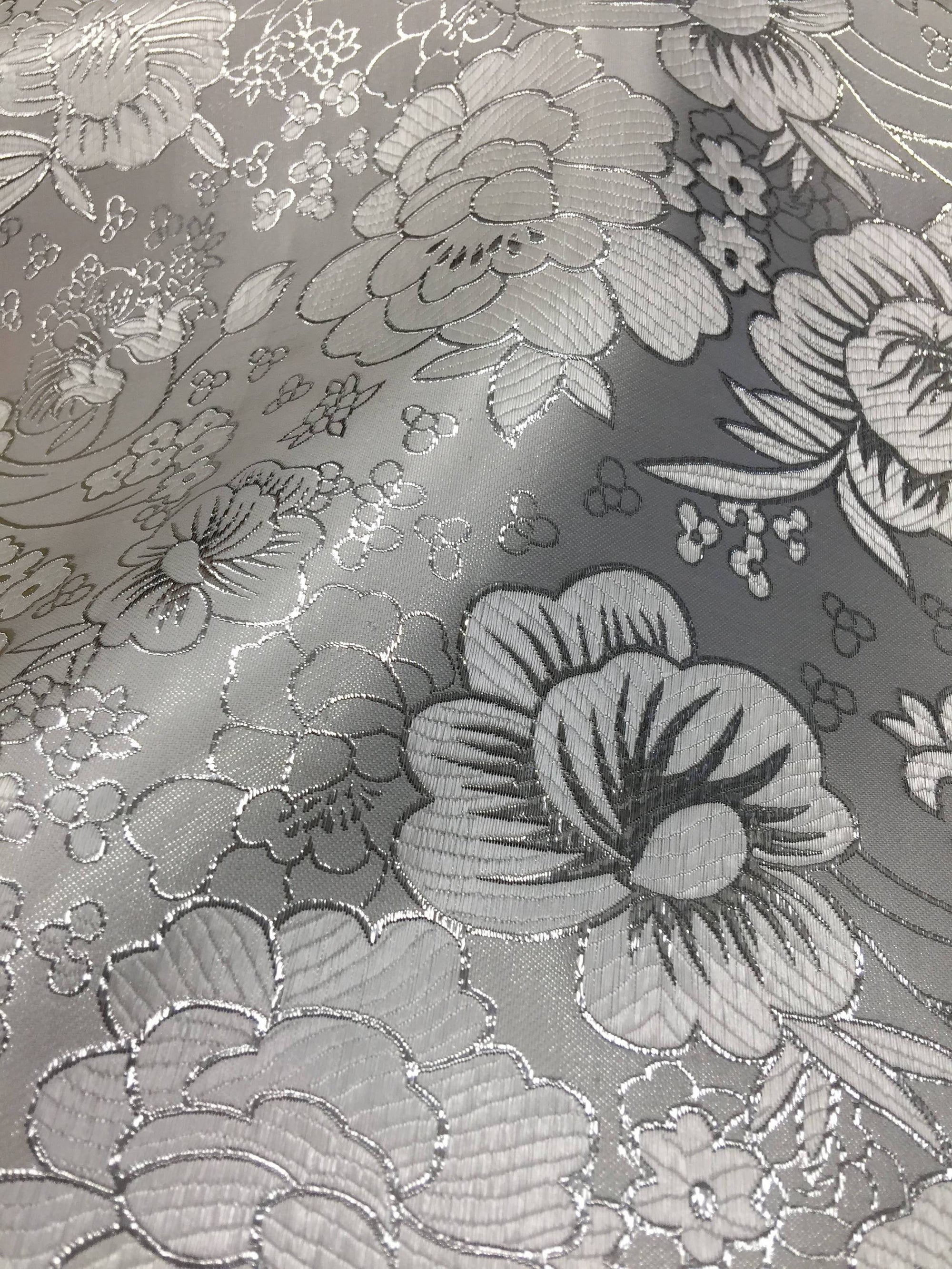Juliet SILVER Floral Brocade Chinese Satin Fabric by the Yard - 10053