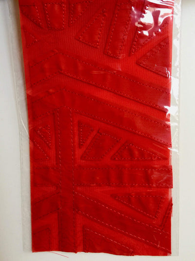 McKinley RED Geometric Cutout Vinyl on Mesh Fabric by the Yard - 10105