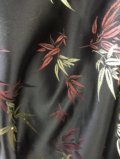 Alondra BLACK Leaves Brocade Chinese Satin Fabric by the Yard - 10095