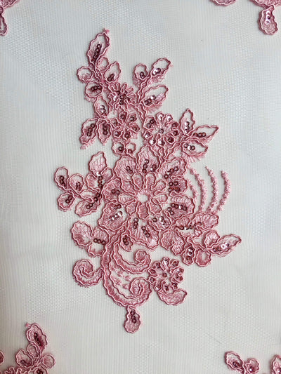 Brianna PINK Polyester Floral Embroidery with Sequins on Mesh Lace Fabric by the Yard - 10020