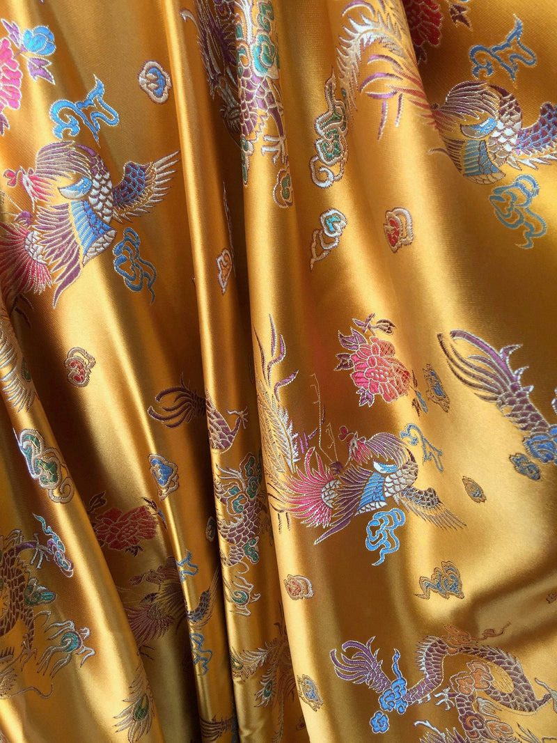 Hope DARK GOLD Dragon Brocade Chinese Satin Fabric by the Yard - 10040