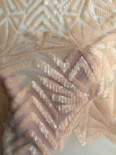 Gia LIGHT PEACH Geometric Sequins on Mesh Lace Fabric by the Yard - 10101