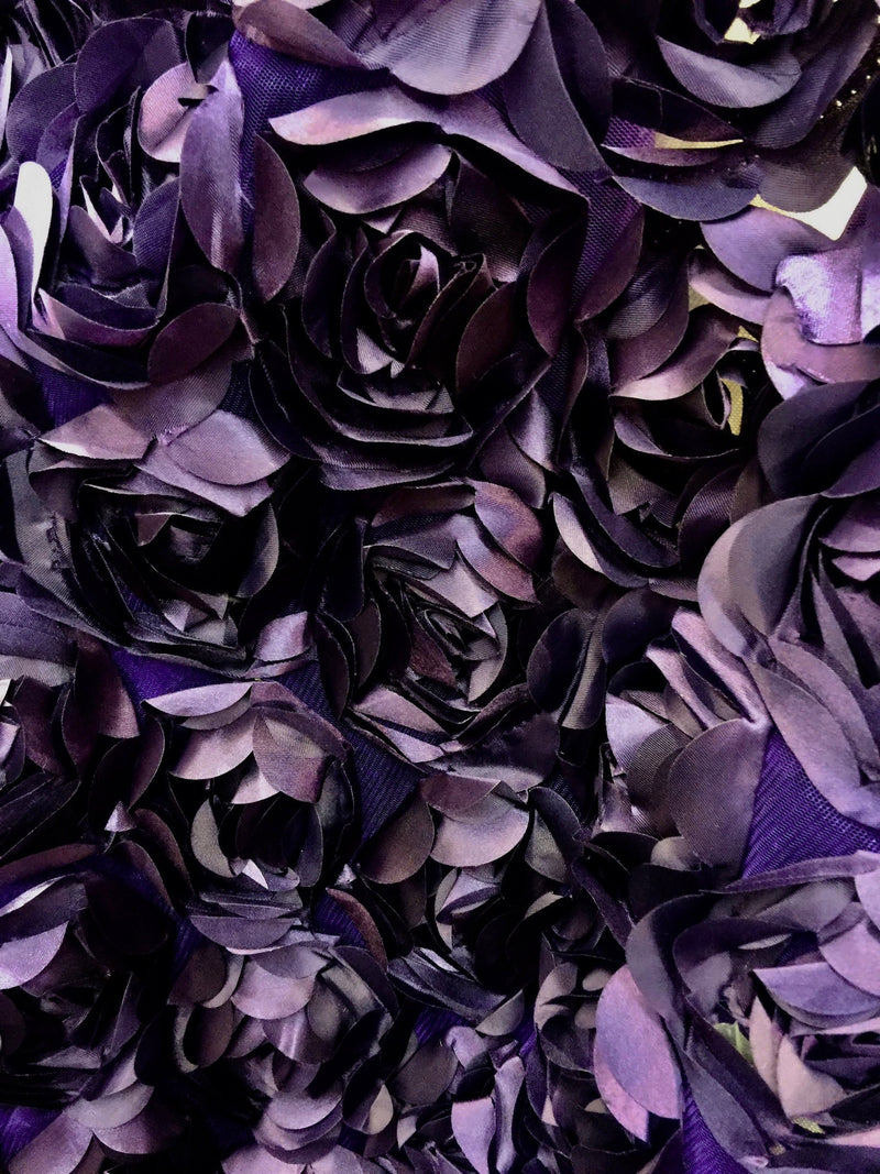 Maci PLUM 3D Floral Polyester Satin Rosette on Mesh Fabric by the Yard - 10057