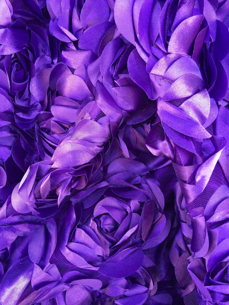 Maci PURPLE 3D Floral Polyester Satin Rosette on Mesh Fabric by the Yard - 10057