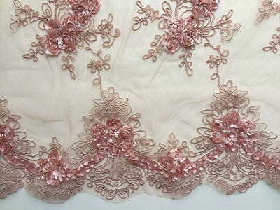 Andrea DUSTY ROSE 3D Floral Matte Corded Embroidery on Mesh Lace Fabric by the Yard - 10016