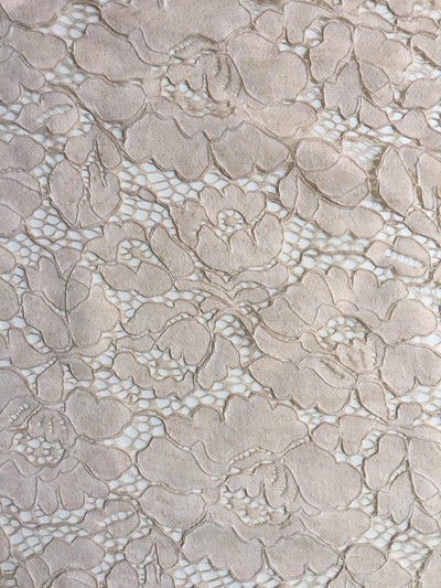 Summer BEIGE Floral Pattern Double Dyed Flat Lace on Mesh Fabric by the Yard - Style 10069
