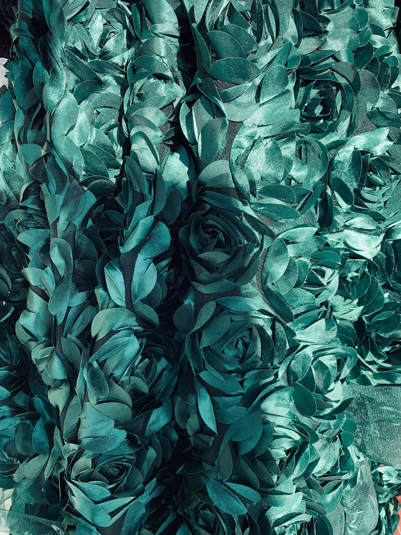 Maci HUNTER GREEN 3D Floral Polyester Satin Rosette on Mesh Fabric by the Yard - 10057