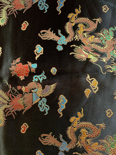 Hope BLACK Dragon Brocade Chinese Satin Fabric by the Yard - 10040