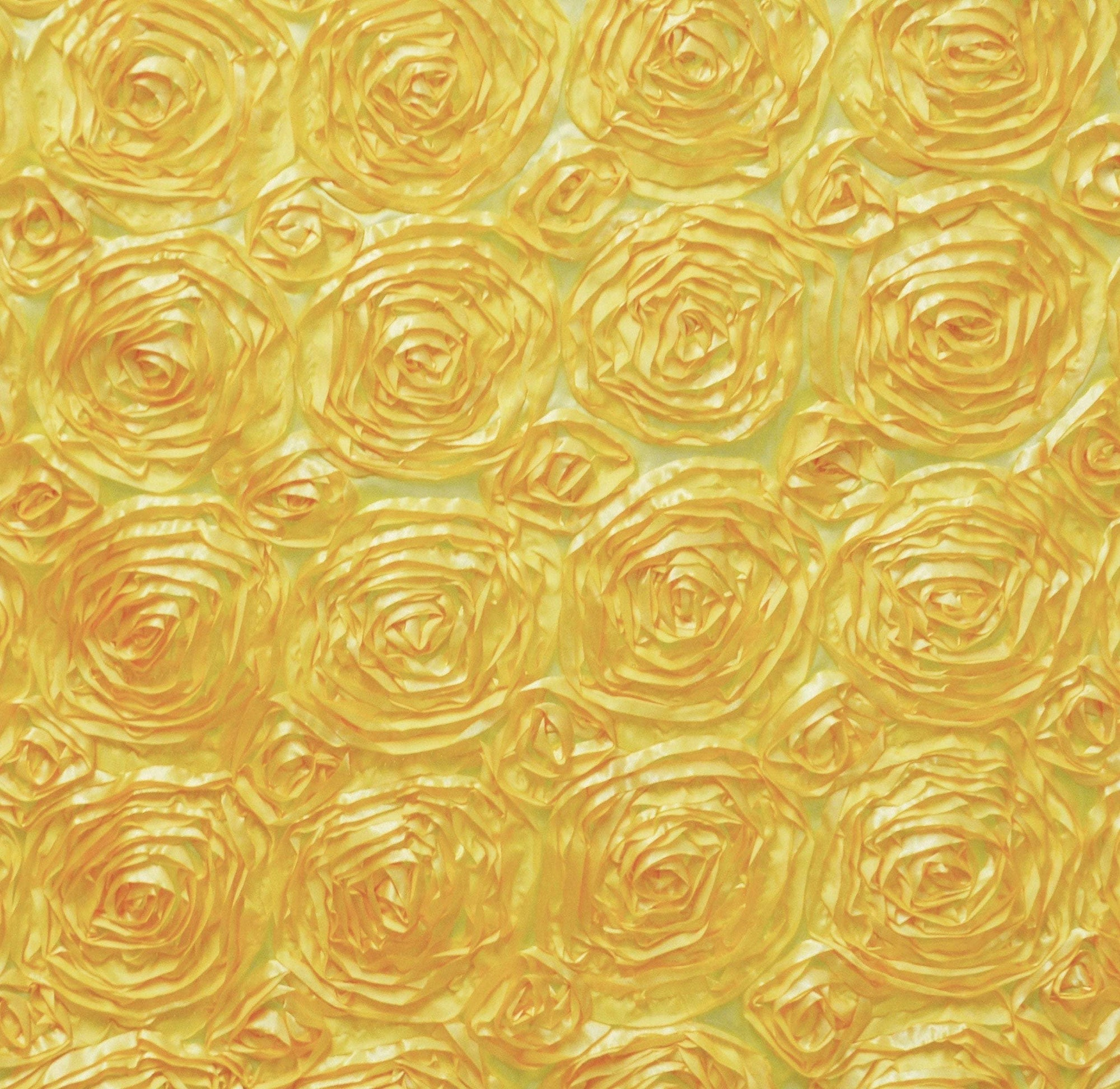 Paige YELLOW 3D Floral Polyester Satin Rosette Fabric by the Yard - 10028