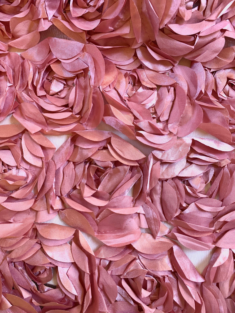 Maci DUSTY PINK 3-D Floral Polyester Satin Rosette on Mesh Fabric by the Yard - 10057