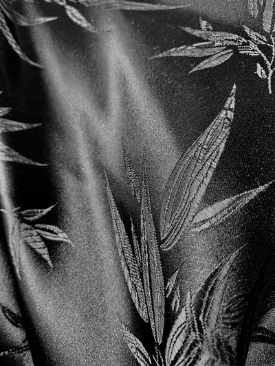 Alondra ALL BLACK Leaves Brocade Chinese Satin Fabric by the Yard - 10095