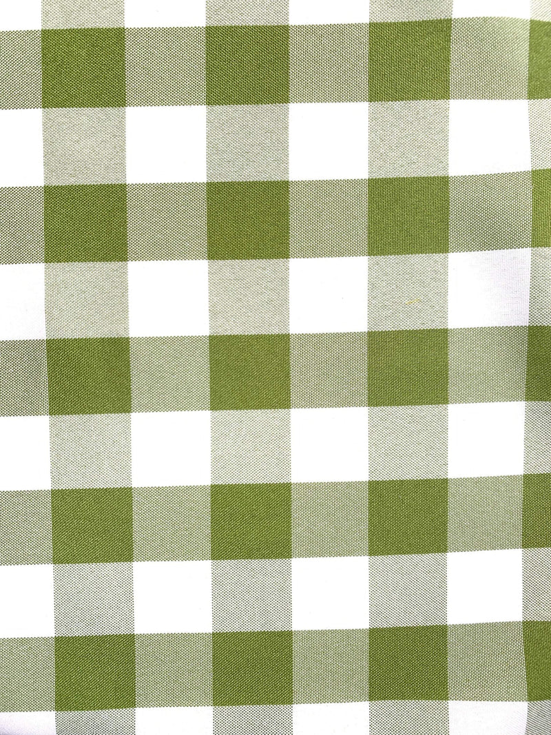 "Camille APPLE GREEN 1"" Big Checkered Gingham Pattern Poly Poplin Fabric by the Yard - 10049"
