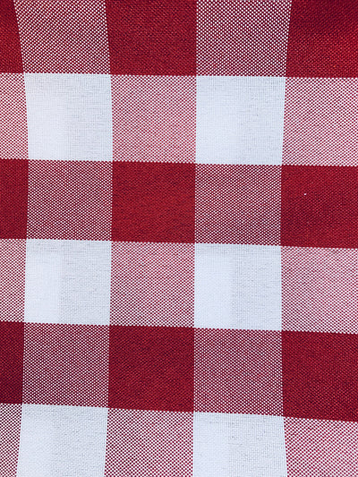 "Camille RED 1"" Big Checkered Gingham Pattern Poly Poplin Fabric by the Yard - 10049"