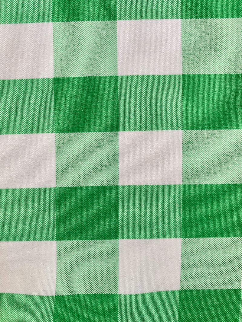 "Camille LIME GREEN 1"" Big Checkered Gingham Pattern Poly Poplin Fabric by the Yard - 10049"