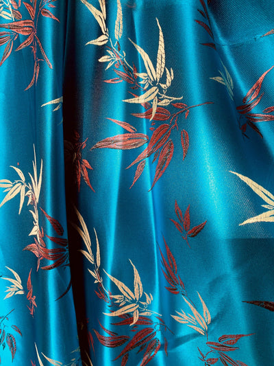 Alondra TURQUOISE Leaves Brocade Chinese Satin Fabric by the Yard - 10095