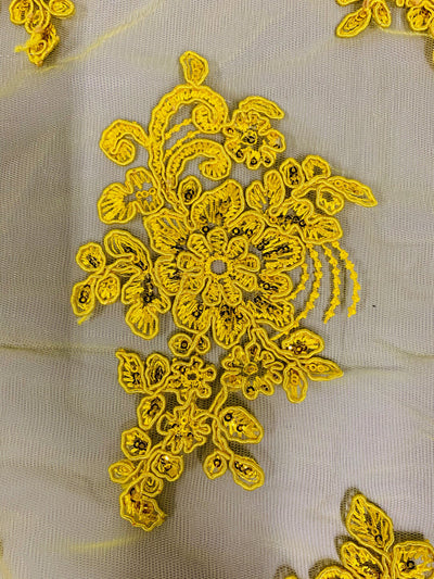 Brianna BRIGHT YELLOW Polyester Floral Embroidery with Sequins on Mesh Lace Fabric by the Yard - 10020