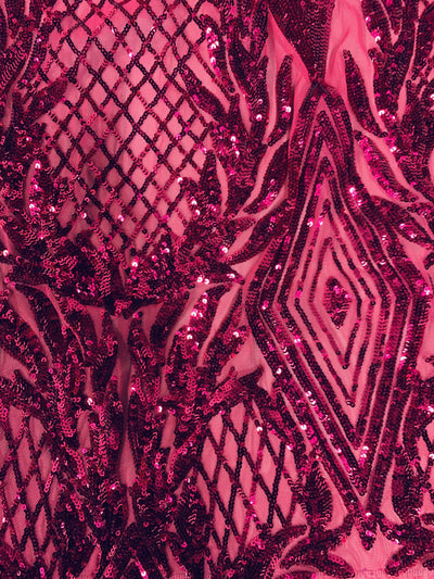 Francesca FUCHSIA Vines and Diamonds Pattern Sequins on Mesh Lace Fabric by the Yard - 10130
